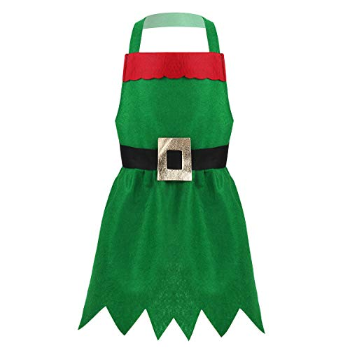 Freebily Kids Children Christmas Cook Costume Kitchen Chef Apron Halloween Cooking Baking Supplies Holiday Decoration Outfit Green One Size