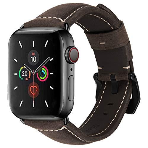 MroTech Uhrenarmband kompatibel mit iWatch 44mm Armband 42mm Lederarmband Ersatzarmband für iWatch Series 5 Serie 4 3 2 1 echtes Leder Wechselarmband mit Schwarz Schnalle 42/44 mm-Schokoladenfarbe