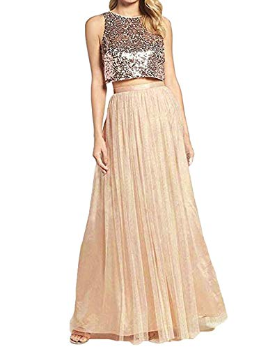 MEILISAY Women's Two Piece Sequined Bridesmaid Dresses Long Cap Sleeve Tulle Evening Gowns M022 Champagne2 US16