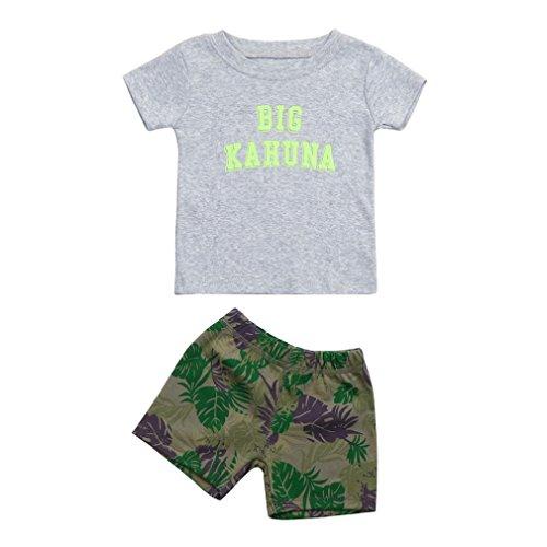 Oyedens BIG Kahuna Shorts Et Haut Ensemble Bebe Garcon Naissance Mode Infantile Enfant Vetement Bébé Garçon Ete Pas Cher Sport Chemise Sweat T-Shirt Tops + Shorts Pantalons (Gris, 0-6 Mois)