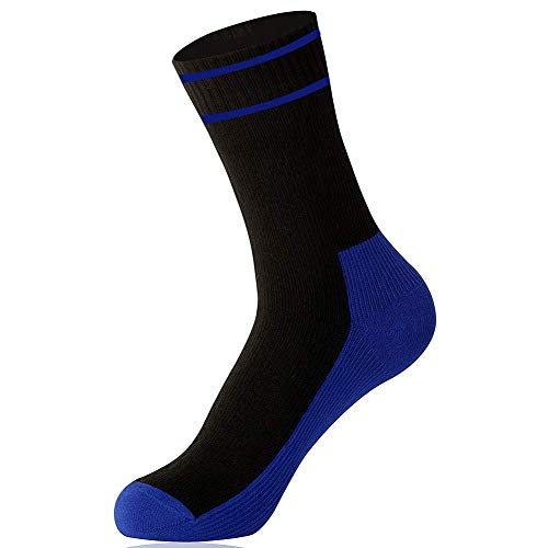 OTTER Waterproof breathable socks By ANTU for MEN and WOMEN athletes who are looking for performance and quality running, cycling, mountain biking. Waterproof sock. (Black & Blue, Medium (6-9)