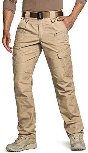 CQR Herren Tactical Hose, Imprägniermittel Ripstop Cargo Pants, Leichte EDC Wandern Arbeitshosen, Outdoor Bekleidung, Tlp108 1pack - Khaki, 36W / 34L