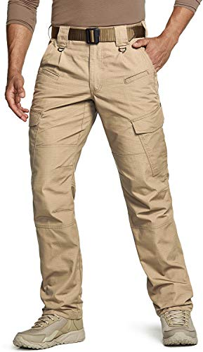 CQR Men's Tactical Pants, Water Repellent Ripstop Cargo Pants, Lightweight EDC Hiking Work Pants, Outdoor Apparel, Duratex(tlp108) - Khaki, 32W x 30L