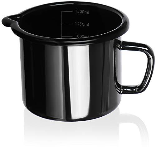 COM-FOUR® Emaille Milchtopf, traditioneller Topf für Milch & Kakao, praktischer Ausguß, für alle Heradarten & Spülmaschinen geeignet