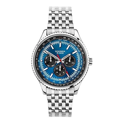 Sekonda Aviation Pilot Reloj de pulsera de acero inoxidable milanés de plata con esfera azul 1771