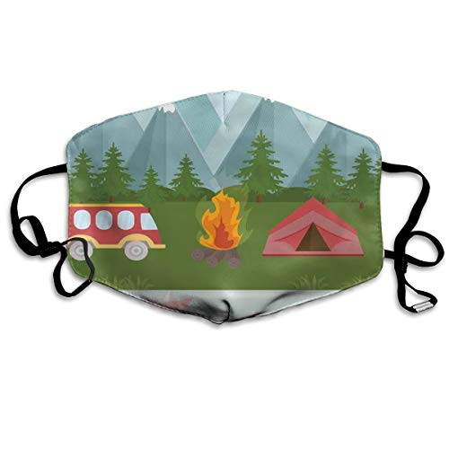 Comfortable Windproof mask,Mouth MASKS Adjustable Earloop Face Mask,Cartoon Tent Fire And Hippie Style Caravan In The Mountains Countryside Activities,Printed Facial decorations for Women and Men