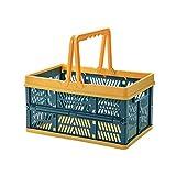 Baibao - Cesta de picnic plegable de almacenamiento portátil para carrito de la compra (azul)