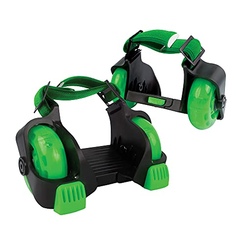 New-Bounce Heel Wheel Skates - Jet Wheelies for Shoes - Adjustable Roller Heel Skates for Kids - One Size Fits Most (Green)