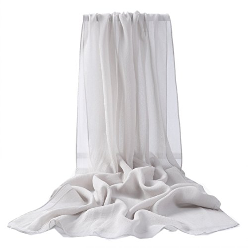 prettystern 180cm einfarbig Seiden-Stola Crepe Georgette Schal - Silber Grau 2015