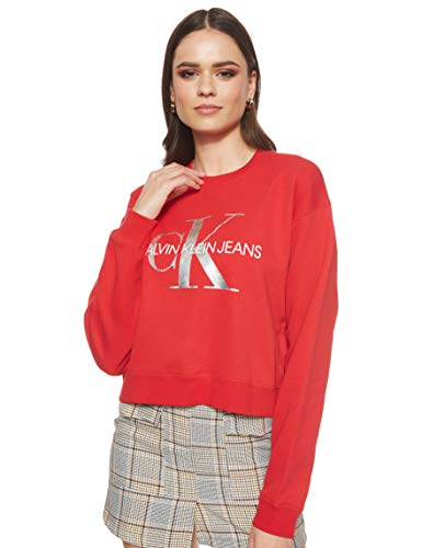 Calvin Klein - J20J211803 688 - Sudadera SIN Capucha - Logo Mujer - Color Rojo