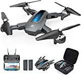 DEERC D10 Foldable Drone with Camera for Adults 1080P HD FPV Live Video, Tap Fly, Gesture Control, Altitude Hold, Headless Mode, 3D Flips, RC Quadcopter for Kids with 2 Batteries and Carrying Case