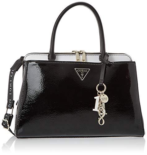 Guess Borsa da donna a mano ecopelle di colore nero lucido, con tre scomparti, tasche interne, doppio manico e tracolla regolabile. TG729106. BIOSABORSE
