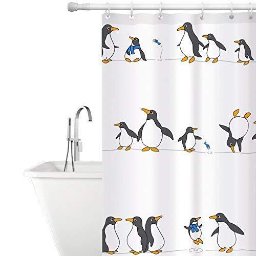 Tatkraft Penguins Duschvorhang 180x180CM, Badvorhang Pinguin Buntes Design, Waschbar Bad Vorhang Textil aus Polyester Schimmelfrei, 12 Gratis Vorhangringe