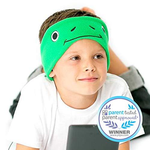 CozyPhones Kids Headphones Volume Limited with Thin Speakers Soft Fleece Headband - Perfect Children's Earphones for Home and Travel - Green Froggy