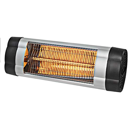 Comfort Zone CZPH10 Outdoor and Indoor Patio Heater - Manual Control - Wall-Mounted Infrared Warmer with Carbon Fiber Heating Element and Adjustable Thermostat - Porch, Garage, Deck - 1500W