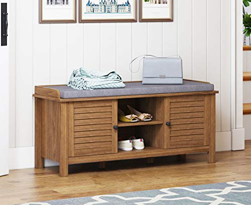 Spirich Home Entryway Bench with Storage and Cushion, Large Entryway Storage Bench with Adjustable Shelf and Louvre Door
