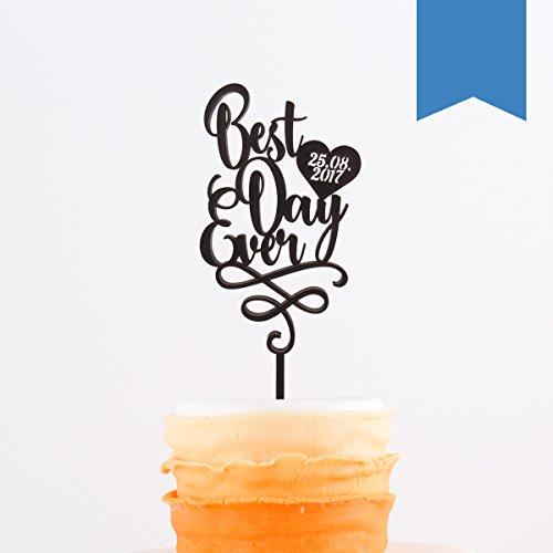 KLEINLAUT individueller Caketopper zur Hochzeit - mit Eurem Datum - 15cm breit - Wähle eine Farbe - Hellblau