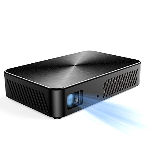 NCBH-projector wireless Metal Texture draagbare projector 1080P DLP wordt geleverd met WiFi Bluetooth projector met geïntegreerde accu voor thuisgebruik en kantoor.