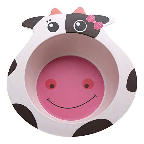 TOPINCN Comida De Los Niños Bowl Eco-Friendly Fibra De Bambú De Aislamiento De Dibujos Animados Patrón Animal Lindo Evita Lastimar Vajilla Accesorios De Cocina(Vaca)