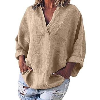 Toimothcn Cotton Linen Shirts for Womens Long Sleeve Kaftan Tunic Tops Baggy Blouse Tee Shirt Tops Khaki,Small