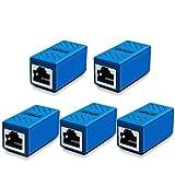 RJ45 Coupler, Ethernet Extension, Network Connectors for Cat7/Cat6/Cat5e/Cat5 Ethernet Cable - Network Cable Coupler Female to Female (Blue-5 Pack)