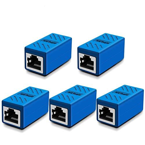 RJ45 Coupler, Cat6 RJ45 Coupler Ethernet Extension, Network Connectors for Cat7/Cat6/Cat5e/Cat5 Ethernet Cable - Network Cable Coupler Female to Female (Blue-5 Pack)