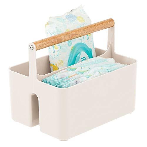 mDesign Cesta con asa para el cuarto del bebé – Caja organizadora de plástico sin BPA con asa de madera para biberones, pañales y más – Organizador de juguetes portátil con 2 apartados – crema