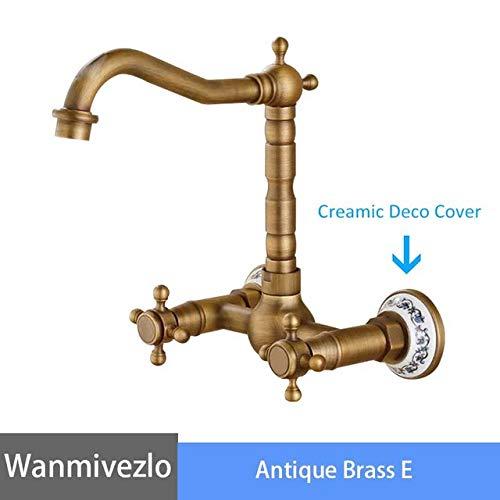 G0000D - Grifo de baño de bronce negro grifo de baño montado en la pared grifo de lavabo 360 grados de rotación de doble manija grúa fría y caliente grifo mezclador de agua torneira== Calidad superior y envío gratis