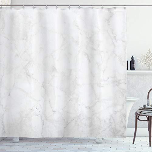 ABAKUHAUS Marmor Duschvorhang, Abstrakt Stein Veins, Wasser Blickdicht inkl.12 Ringe Langhaltig Bakterie und Schimmel Resistent, 175 x 180 cm, Grau Weiß