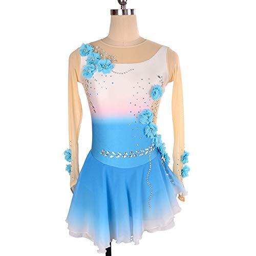 CAICAIL Blaue Und Weiße Steigung Kinder Eiskunstlauf Kleid Mädchen Show Rock Tango Rumba Performance Kleid,A,M