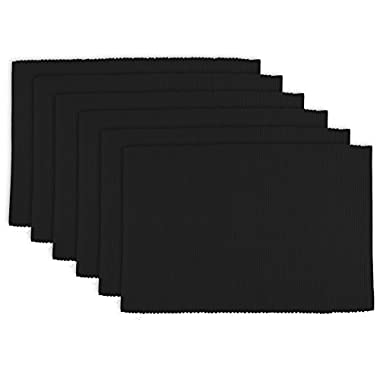 DII Washable Ribbed Cotton Placemat, Set of 6, Black - Perfect for Halloween, Dinner Parties, BBQs and Everyday Use
