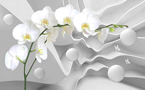 Murales de pared 3D Hermosa flor blanca personalizados papel tapiz fotográfico papel tapiz Vintage decoración de habitación diseño de interiores de dormitorio de oficina techo-200X140cm (78X55 inch)