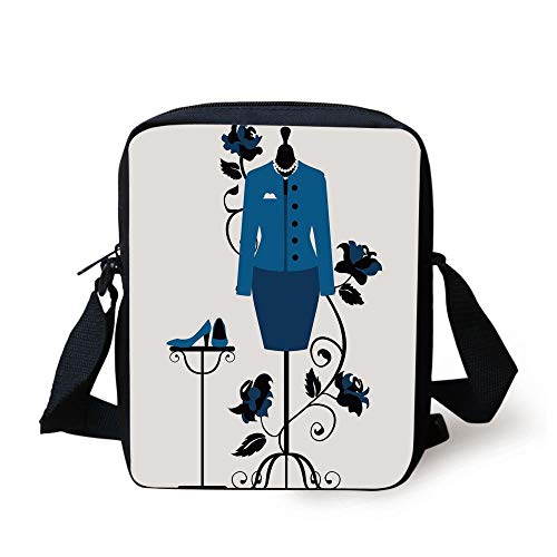 Heels and Dresses,Mannequin in Tailors Shop with Blooming Flower Retro Classical Decorative,Blue Black White Print Kids Crossbody Messenger Bag Purse