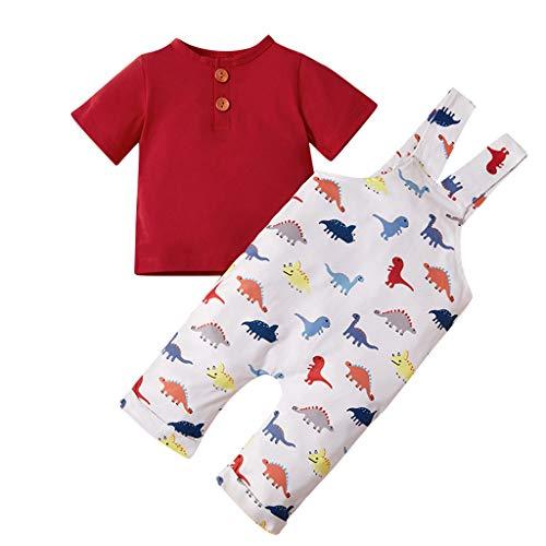 Mamum Toddler Baby Boys Tops Solid + Salopettes Cartoon Pantalon à Bretelles de Dinosaure Vêtements de No?l