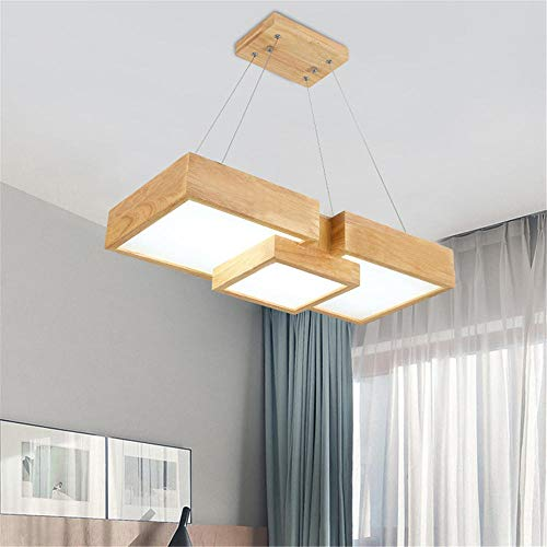 deckenleuchte wohnzimmerVierköpfiger quadratischer Holzrahmen Kronleuchter im japanischen Stil ist einfach zu installieren und spart Energie 62 * 28 * 120CM-36W-3600lm