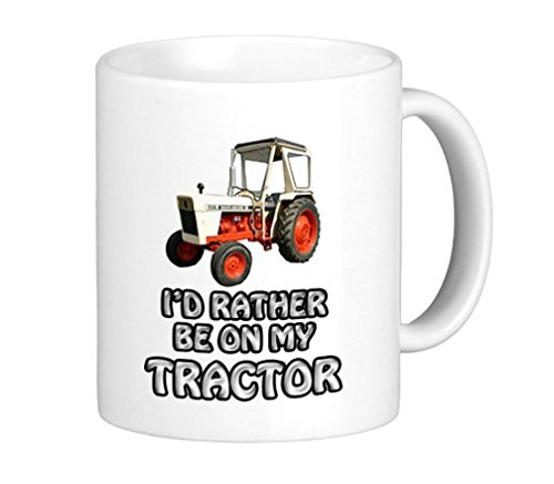 Taza con texto impreso en inglés «I'd Rather Be On My David Brown Tractor»
