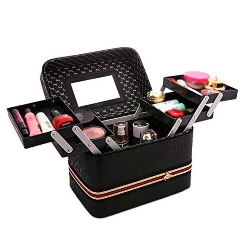 Sac cosmétique Sangle Grande capacité Portable 4 Ouvert Fonction boîte Simple boîte de Stockage Portable (24x18x24cm) (Color : Black, Taille : 24 * 18
