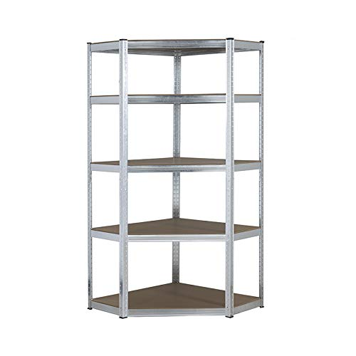 Estantería de esquina de acero galvanizado resistente 150 kg por estante (5 niveles 1500 mm de alto x 700 mm/563 mm de ancho x 300 mm de profundidad)