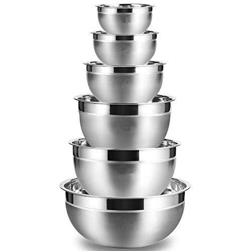 ZXY-NAN Stainless Steel Mixing Bowl (Set Of 6) Fruit Salad Bowl Storage Bowl Set Kitchen Salad Bowl Kitchen Bowls