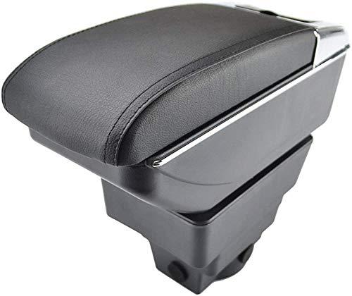 , para Opel Vauxhall Astra J Reposabrazos Caja de Almacenamiento Reposabrazos Doble Capa Cuero Negro Doble 2013 2014 2015-Black_Thread