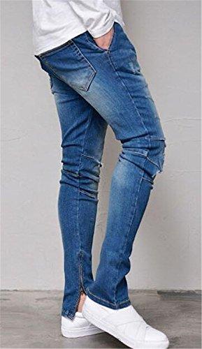 Men's Skinny Destroyed Ripped Jeans Fashion Elastic-Waist Denim Pants