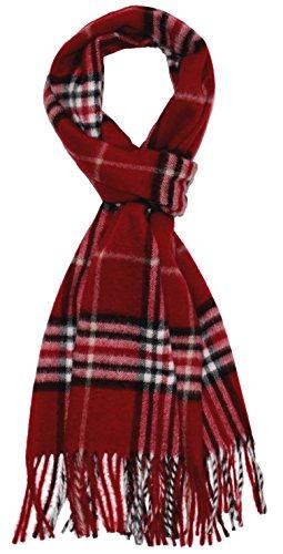 Lorenzo Cana – HERREN SCHAL – im CASHMINK® Verfahren veredelt - weich flauschig Herrenschal harmonische rot Farben mit Fransen Karo Muster - 93293