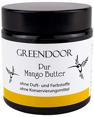 MEHR Inhalt gleicher Preis, reine Greendoor PUR Mangobutter 120ml im Glas, physikalisch raffiniert, vegane Gesichts-Pflege Feuchtigkeit, mattierend, natürlich ohne Tierversuche, Naturkosmetik, Mango