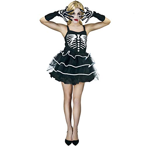 Mujer Cráneo Sexy Pettiskirt Ropa de Fiesta de Halloween Disfraz de Escenario Disfraz de actuación Mascarada Disfraz de Cosplay Negro