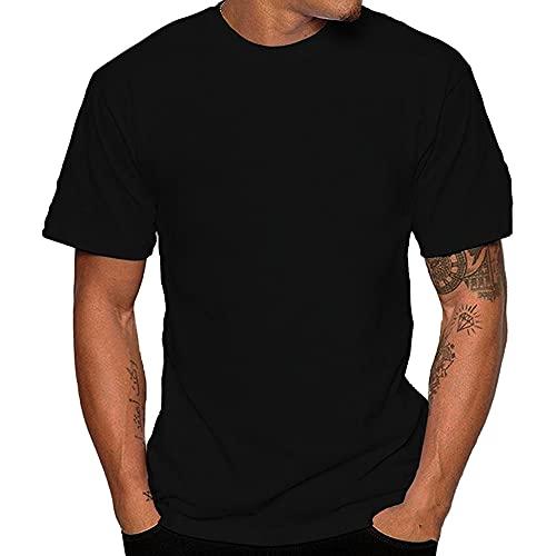 N\P Hombre Verano Súper Suave Camisas Blancas Hombres Manga Corta Algodón Flexible, Negro, XL