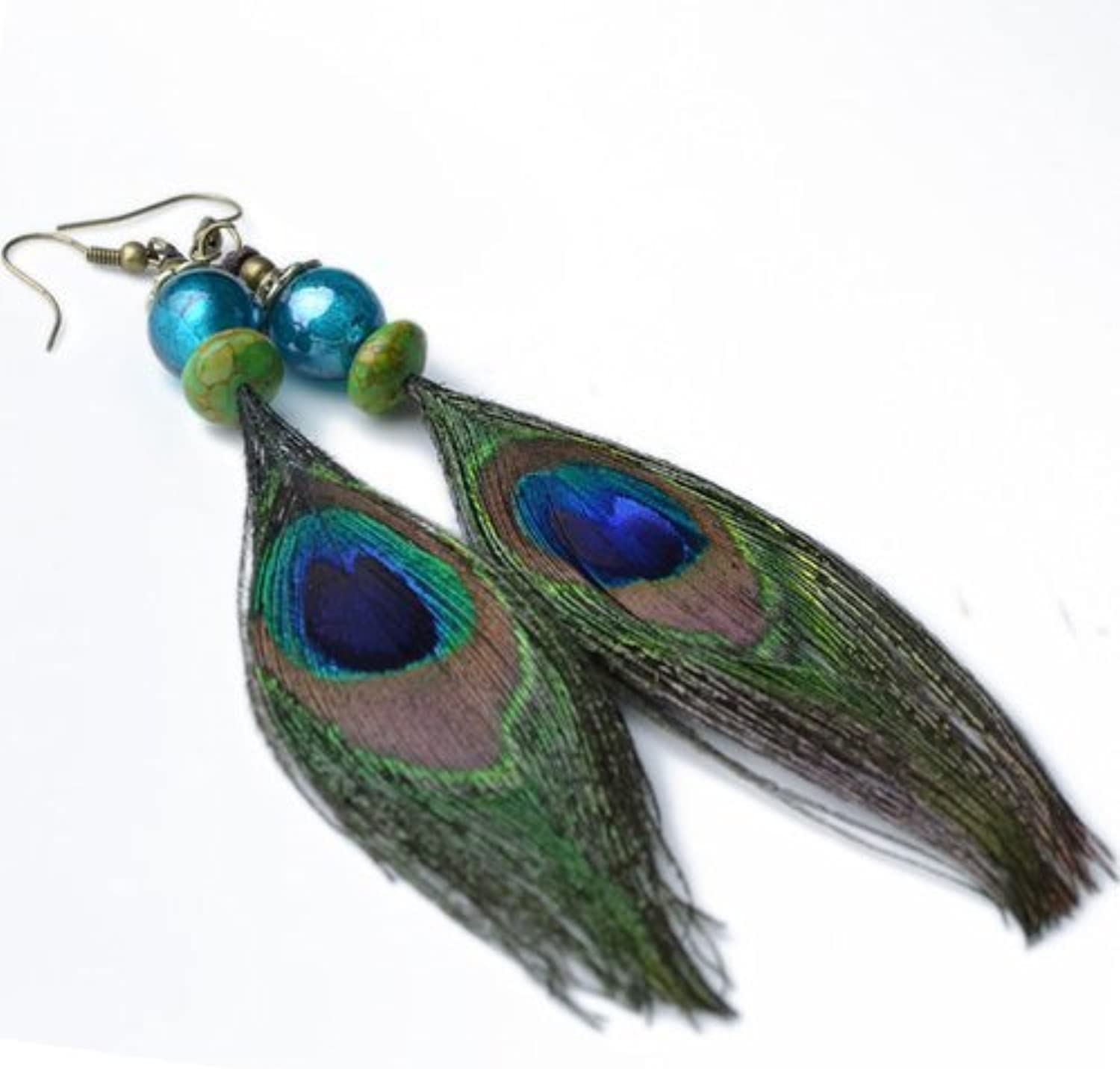 Cyqun(TM) Vintage Peacock Feather Earrings For Girls,For Wom
