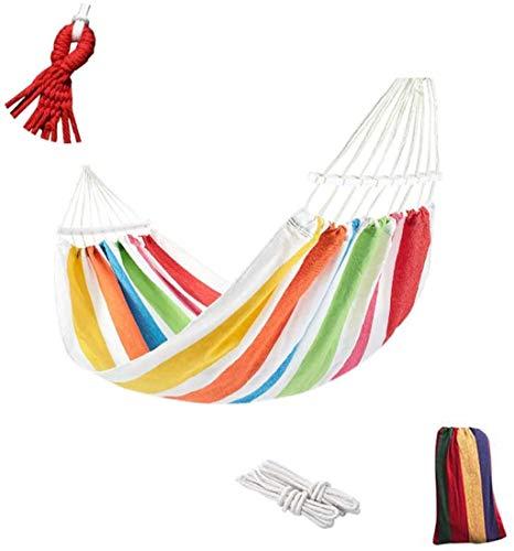 XUHRA Überschlags-Resistant Canvas Hängematte, bewegliches Strand Schaukel Bett, mit Holzstöcken,Natural