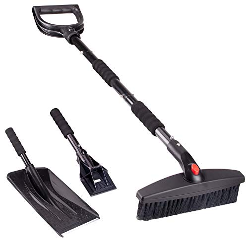 Linkax Snow Shovel Kit, 3-in-1 Snow Shovel with Snow Brush and Ice Scraper, Collapsible Snow Removal Set for Car/Truck/Driveway/Outdoor Emergency