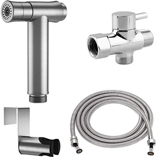 Best Cboice Hand Held Toilet Sprayer Bidet Set, Two Ways to Mount Superior Pressure Control Brushed Nickel Sprayer Attachment