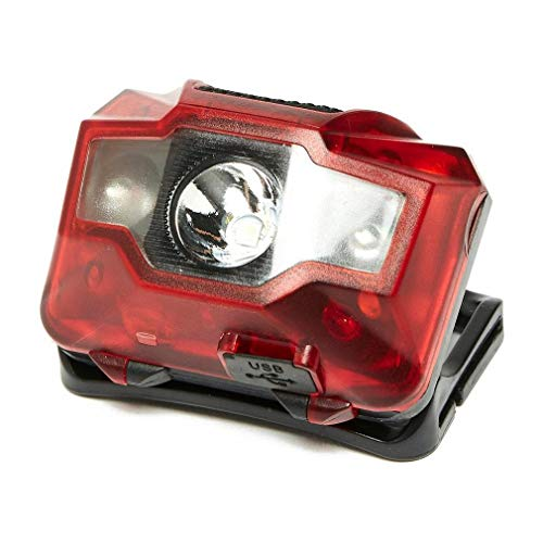 oex Rechargeable Head Torch 3W 2 LED Red One Size